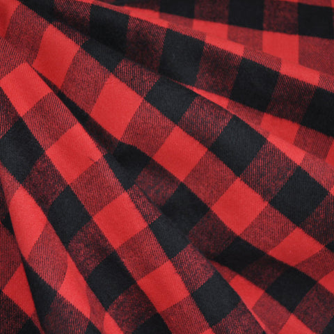 Check Plaid Flannel Shirting Black/Red