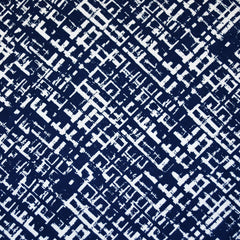 Crosshatch Geometric Rayon Challis Navy/White - Sold Out - Style Maker Fabrics