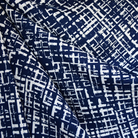 Crosshatch Geometric Rayon Challis Navy/White