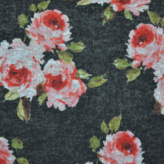 Romantic Rose Plush Double Knit Charcoal SY - Selvage Yard - Style Maker Fabrics