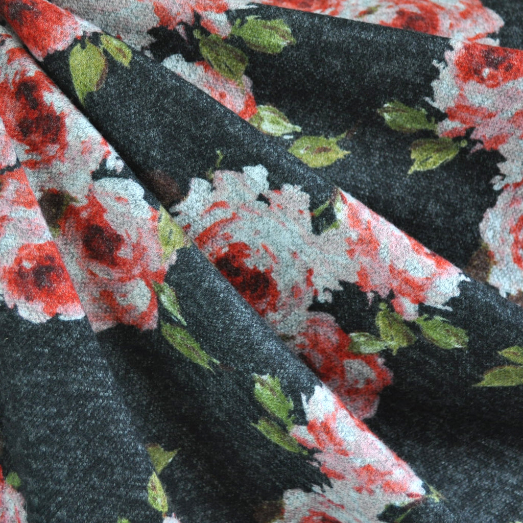 Romantic Rose Plush Double Knit Charcoal - Sold Out - Style Maker Fabrics