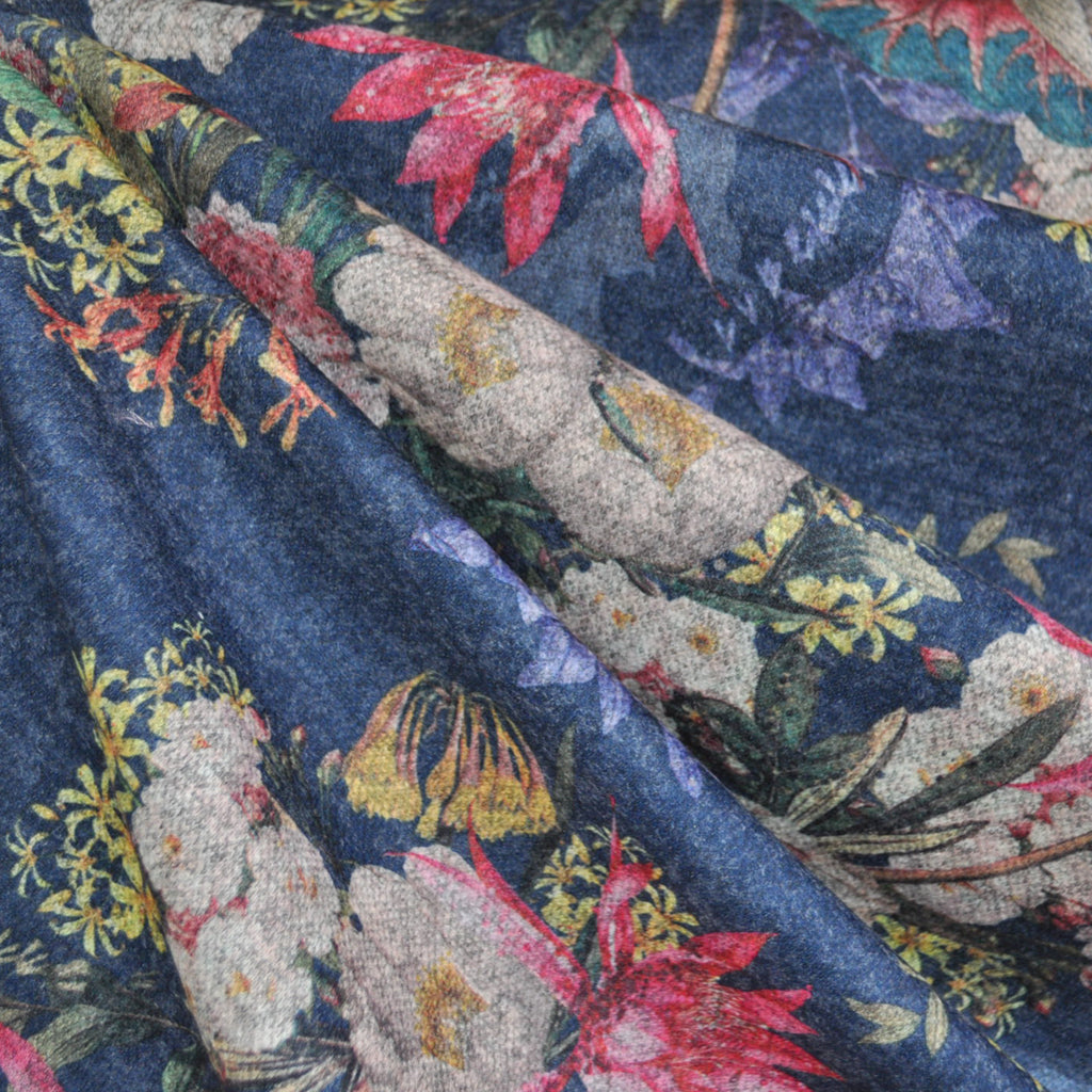 Floral Bouquet Plush Double Knit Denim - Sold Out - Style Maker Fabrics
