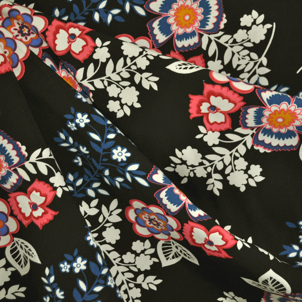 Floral Folklore Rayon Poplin Black - Fabric - Style Maker Fabrics