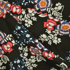 Floral Folklore Rayon Poplin Black SY - Sold Out - Style Maker Fabrics