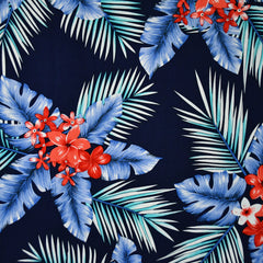 Tropical Palm Floral Rayon Poplin Navy - Fabric - Style Maker Fabrics