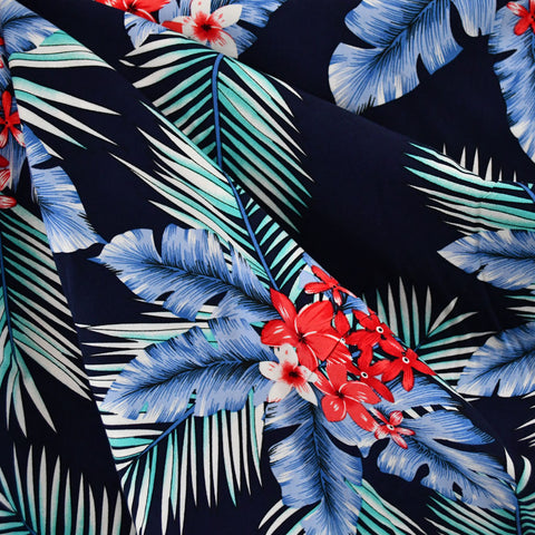 Tropical Palm Floral Rayon Poplin Navy