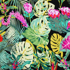 Tropical Jungle Escape Rayon Black/Green SY - Sold Out - Style Maker Fabrics