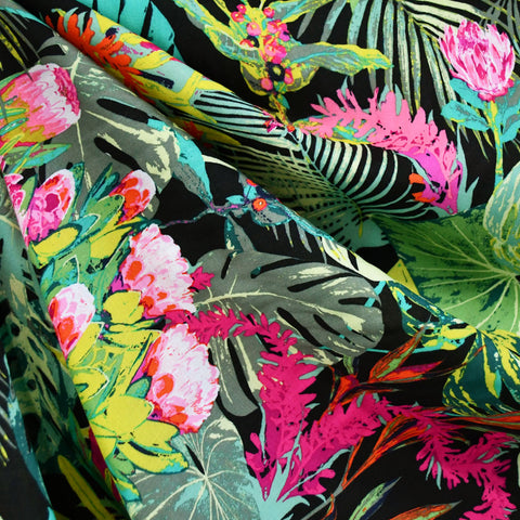 Tropical Jungle Escape Rayon Black/Green