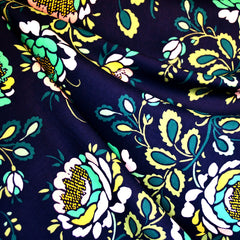 Stenciled Petals Floral Rayon Navy - Fabric - Style Maker Fabrics