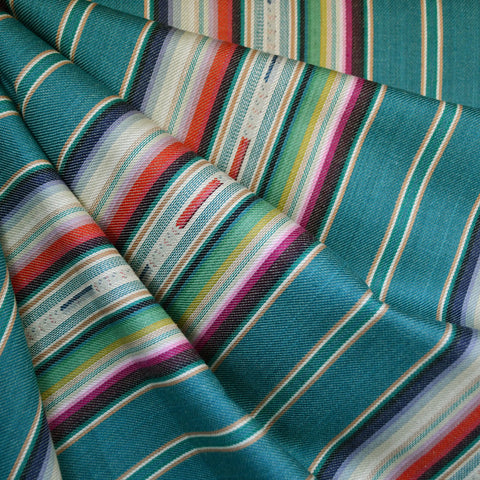 Southwest Inspired Woven Stripe Shirting Teal SY