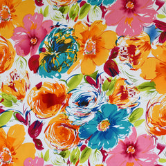 Abstract Watercolor Floral Stretch Sateen Multi - Sold Out - Style Maker Fabrics