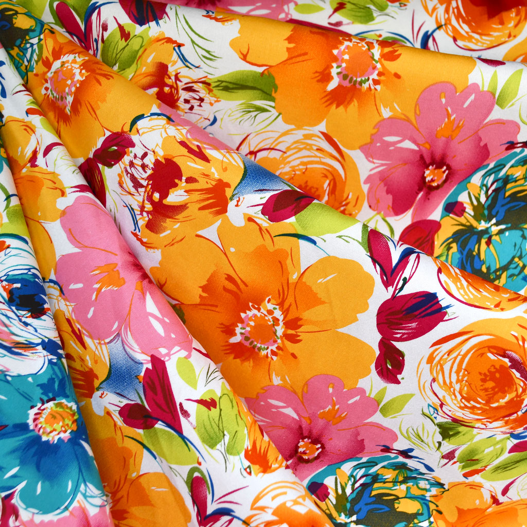 Abstract Watercolor Floral Stretch Sateen Multi SY - Sold Out - Style Maker Fabrics