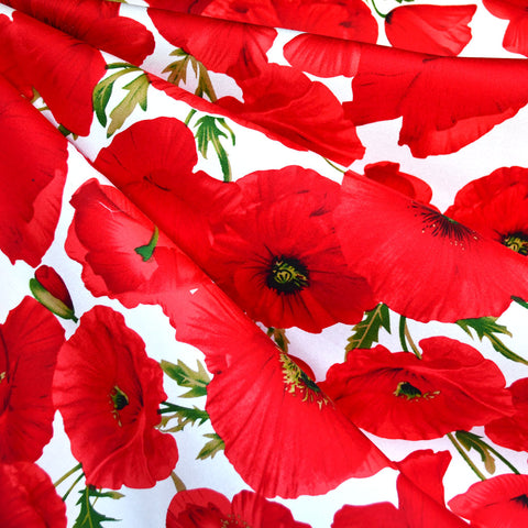 Striking Poppy Stretch Sateen White/Red