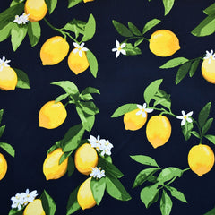 Summer Citrus Stretch Sateen Navy/Yellow - Sold Out - Style Maker Fabrics