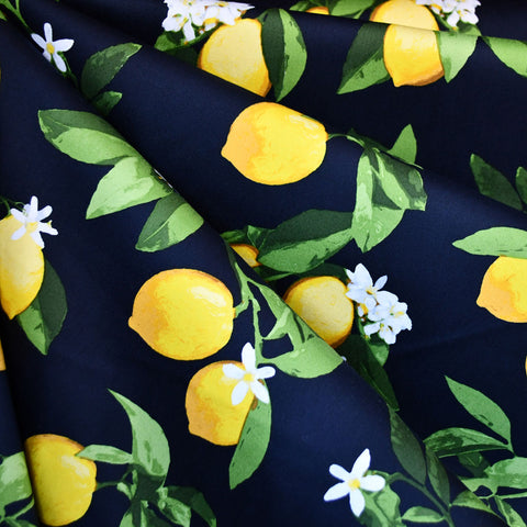 Summer Citrus Stretch Sateen Navy/Yellow