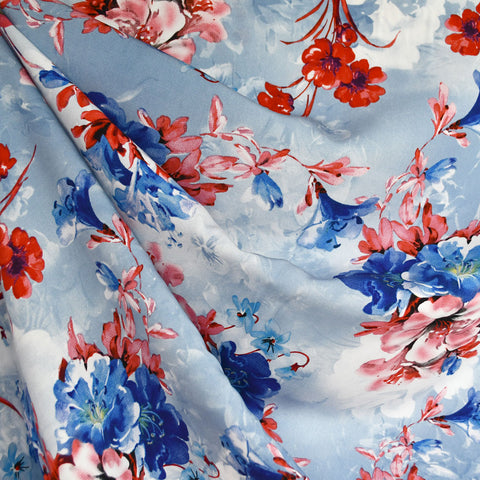 Azalea Floral Rayon Challis Blue/Red SY