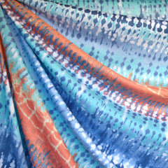 Abstract Watercolor Stripe Jersey Knit Aqua/Blue - Sold Out - Style Maker Fabrics