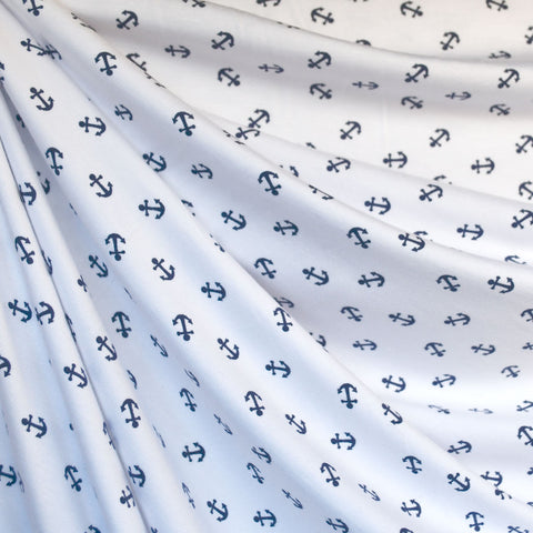 Anchors Away Bamboo Jersey Knit White/Blue