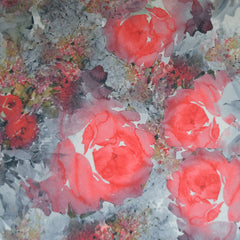Watercolor Floral Crepe Knit Coral - Fabric - Style Maker Fabrics