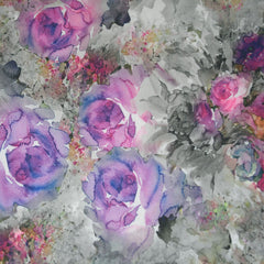 Watercolor Floral Crepe Knit Purple - Sold Out - Style Maker Fabrics