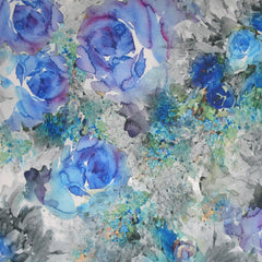 Watercolor Floral Crepe Knit Blue - Fabric - Style Maker Fabrics