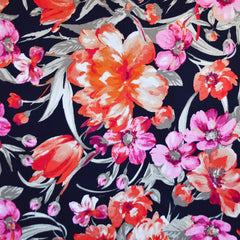 Watercolor Floral Stretch Sateen Navy/Orange - Fabric - Style Maker Fabrics