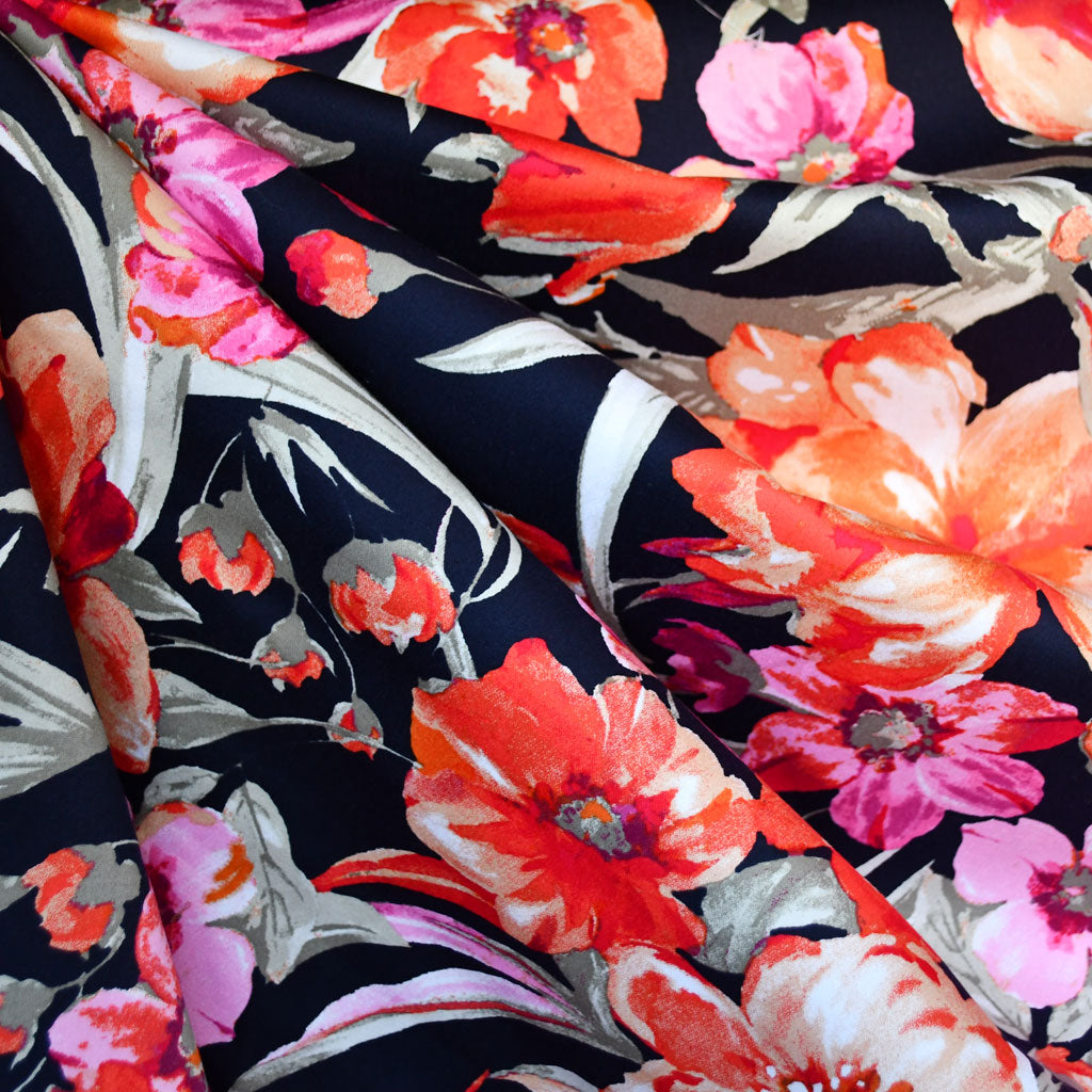 Watercolor Floral Stretch Sateen Navy/Orange SY - Sold Out - Style Maker Fabrics