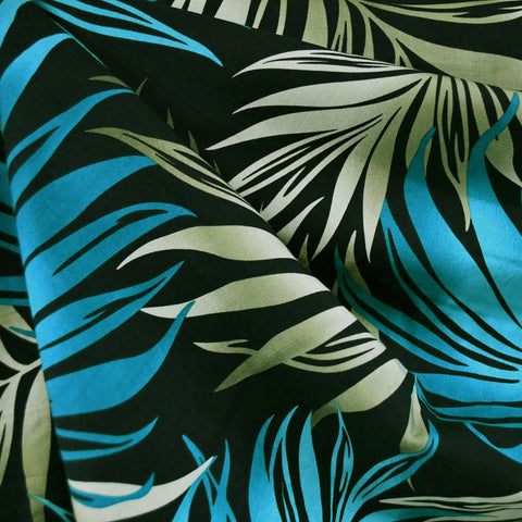 Bright Tropical Leaves Rayon Shirting Teal/Olive