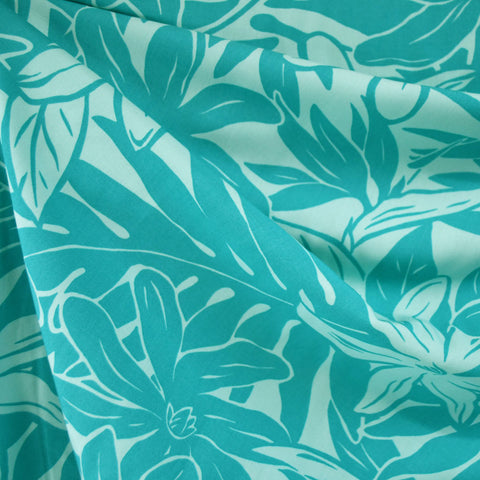 Tonal Tropical Foral Rayon Shirting Aqua