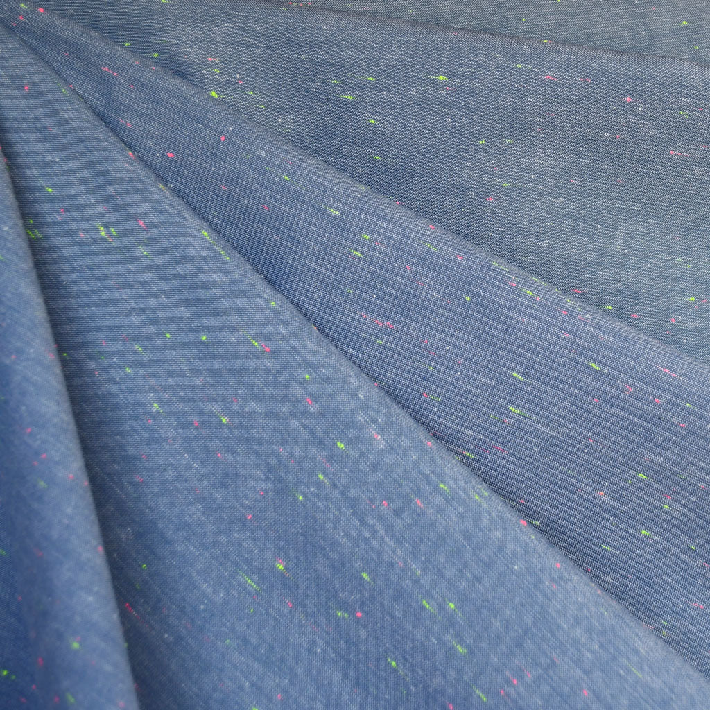 Neon Slub Chambray Shirting Blue/Multi - Sold Out - Style Maker Fabrics