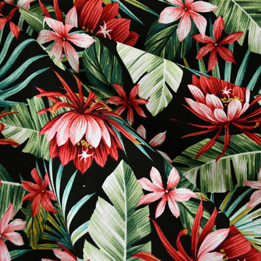 Island Paradise Foliage Barkcloth Black - Sold Out - Style Maker Fabrics