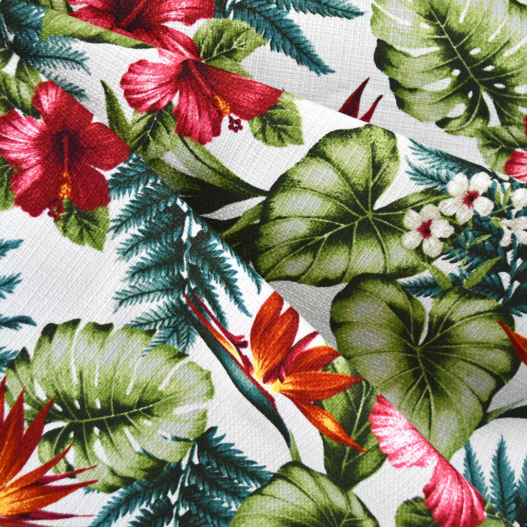 Island Paradise Foliage Barkcloth Cream SY - Sold Out - Style Maker Fabrics