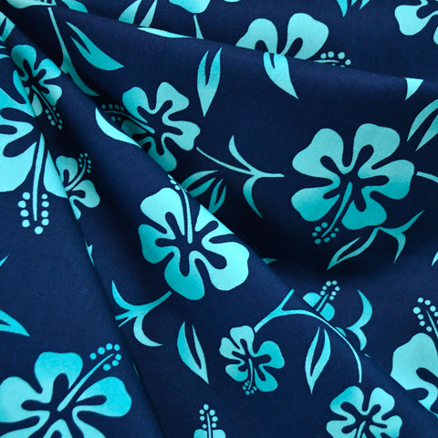 Classic Hibiscus Floral Poplin Shirting Navy/Turquoise