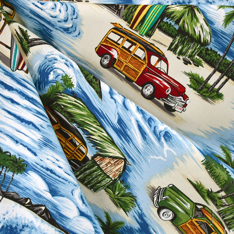 Vintage Surf Wagons Poplin Shirting Blue