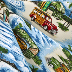 Vintage Surf Wagons Poplin Shriting Blue - Fabric - Style Maker Fabrics