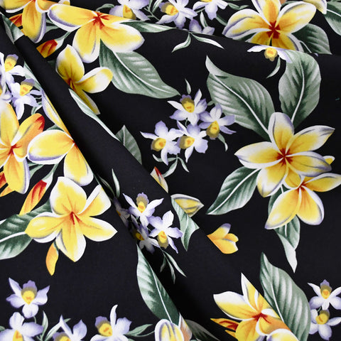 Plumeria Paradise Poplin Shirting Black/Yellow