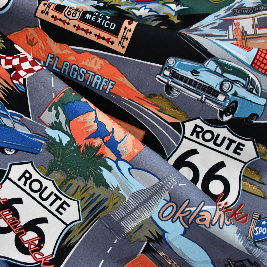 Scenic Route 66 Poplin Shirting Black SY - Sold Out - Style Maker Fabrics