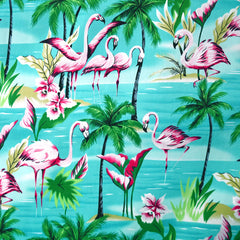 Flamingo Paradise Poplin Shirting Turquoise SY - Sold Out - Style Maker Fabrics