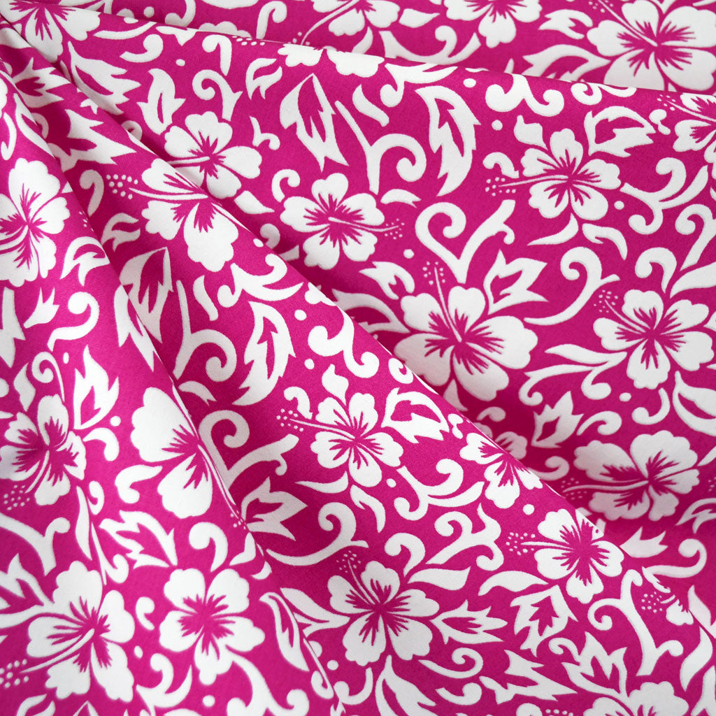 Hibiscus Scroll Poplin Shirting Fuchsia/White SY - Sold Out - Style Maker Fabrics