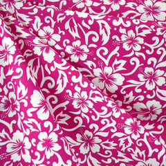 Hibiscus Scroll Poplin Shirting Fuchsia/White SY - Selvage Yard - Style Maker Fabrics