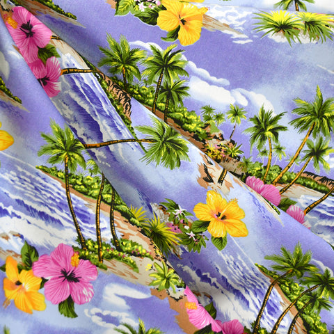 Tropical Paradise Poplin Shirting Lavender