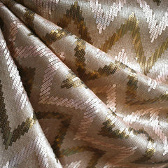 Soft Chevron Embroidered Mesh Gold - Fabric - Style Maker Fabrics