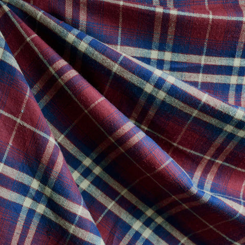 Plaid Flannel Shirting Burgundy/Navy SY