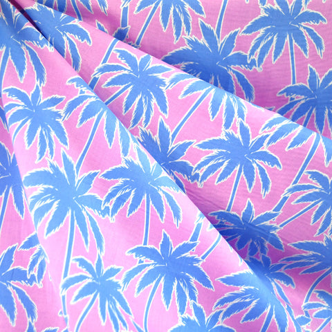 Dreamy Palm Trees Cotton Lawn Pink/Blue