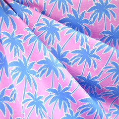 Dreamy Palm Trees Cotton Lawn Pink/Blue - Sold Out - Style Maker Fabrics