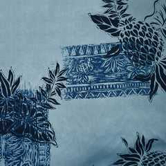 Pineapple Block Print Rayon Shirting Denim SY - Sold Out - Style Maker Fabrics