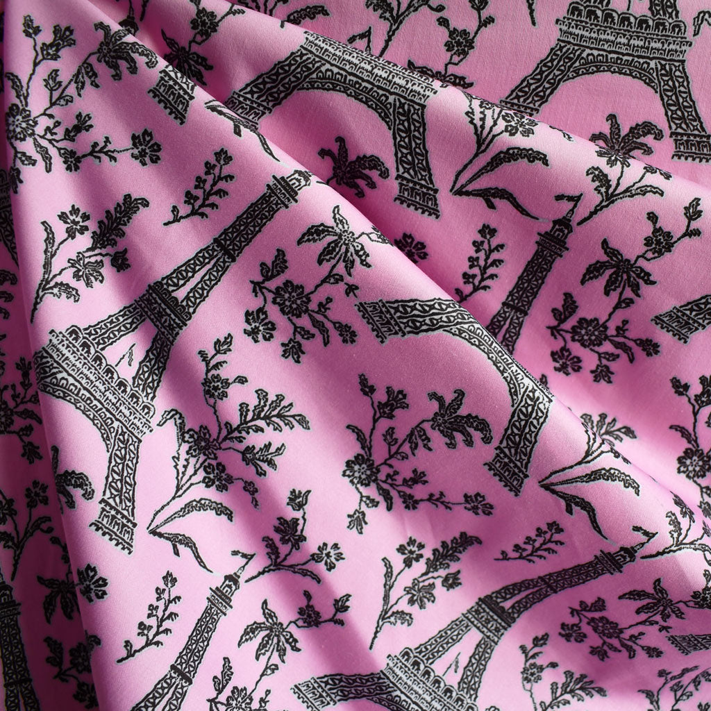 BedHead Eiffel Tower Stretch Sateen Pink SY - Sold Out - Style Maker Fabrics