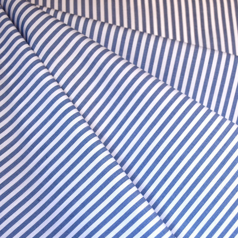 Classic Stripe Cotton Shirting Blue/White