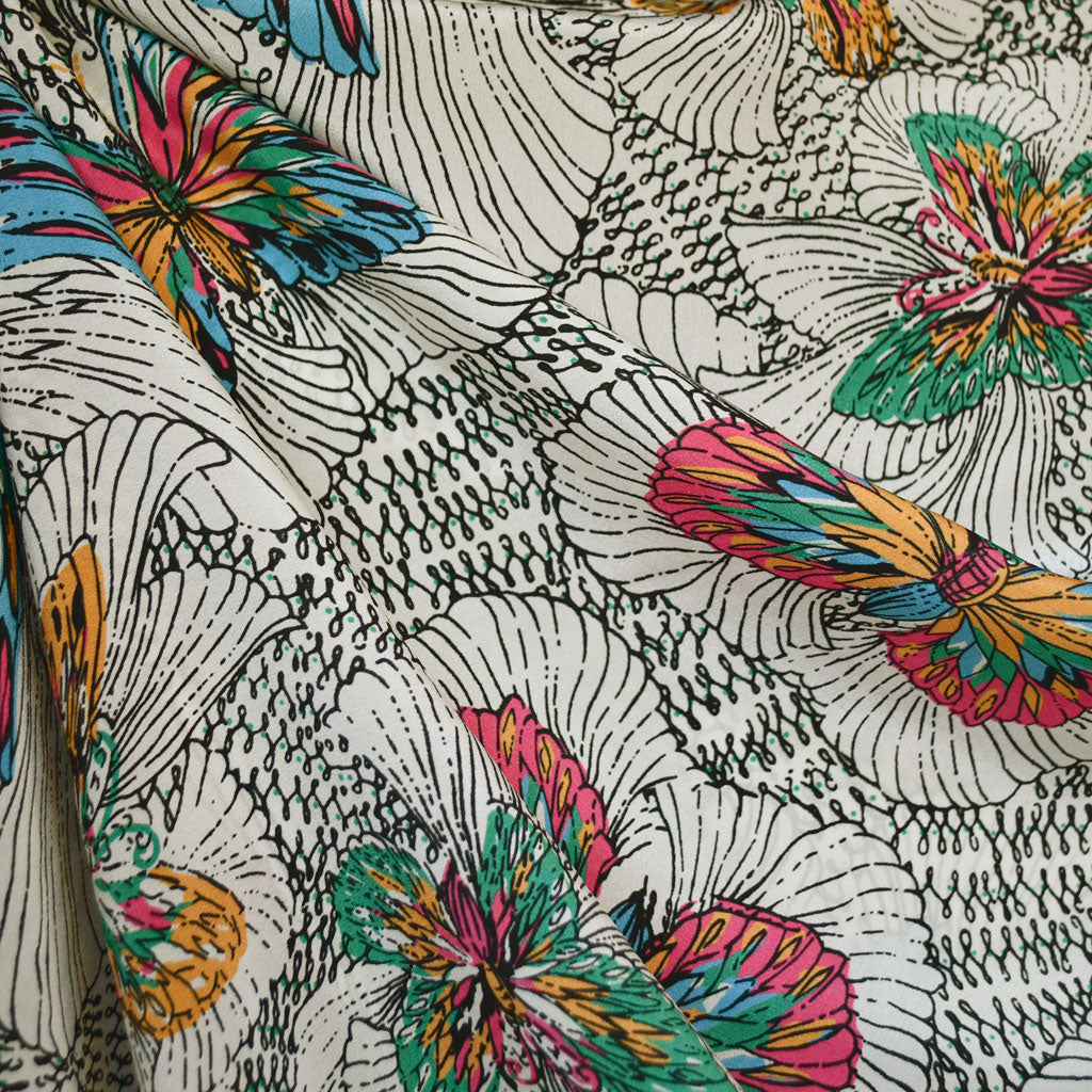 Butterfly Outline Silk Crepe Shirting Cream/Multi - Fabric - Style Maker Fabrics