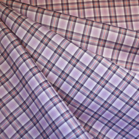 Micro Plaid Cotton Shirting Lavender